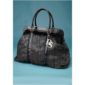 Donna Salyers Fabulous Furs Black Faux Fur Weekend Bag