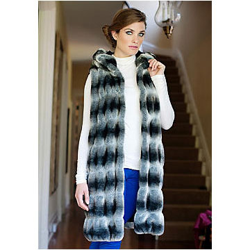 Donna Salyers - Fabulous Furs - Grey Chinchilla Couture Hooded Vest