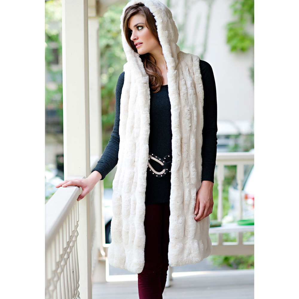 Donna Salyers - Fabulous Furs - Ivory Couture Hooded Vest