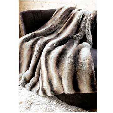Donna Salyers Fabulous Furs Limited Edition Chinchilla Faux Fur Throw