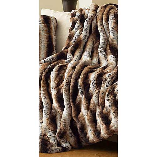 Donna Salyers Fabulous Furs Limited Edition Tan Chinchilla Faux Fur Throw