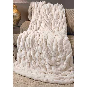 Donna Salyers Fabulous Furs Limited Edition Ivory Mink Faux Fur Throw
