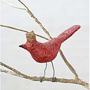 Bird Christmas Ornament - Glitter Holiday Decorations