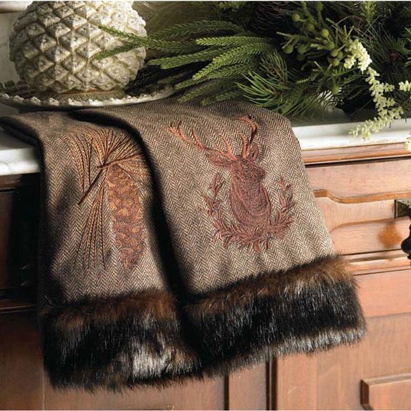 Rustic Christmas Towel Faux Fur Tirm