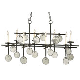 Currey Light Fixtures - 9124 Sethos Rectangular Chandelier - Iron & Glass Chandeliers