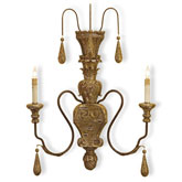 Currey Light Fixtures - 5325 Mansion Wall Sconce - Wood Wall Sconce