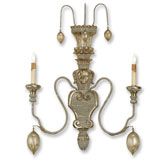 Currey Light Fixtures - 5346 Rossetti Wall Sconce - Iron and Wood Wall Sconce