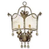 Currey Light Fixtures - 5357 Zara Wall Sconce - Iron & Crystal Wall Sconce
