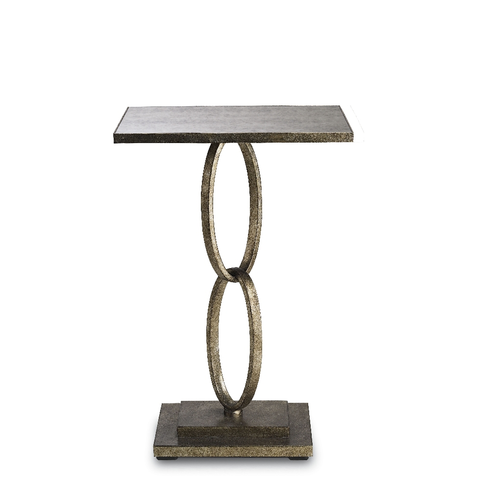 Currey Company Home Bangle Accent Table In Silver Leaf