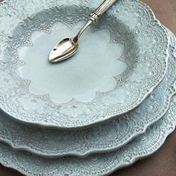 Shop Arte Italica Merletto Antique & Aqua Dinnerware At Peace, Love & Decorating. FREE SHIPPING on All Orders!