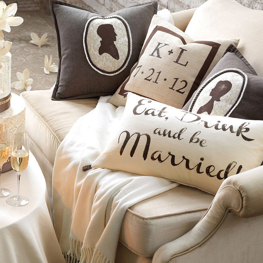 Eastern Accent Monogrammed Wedding Pillows | Creative Wedding Gift Ideas 2018
