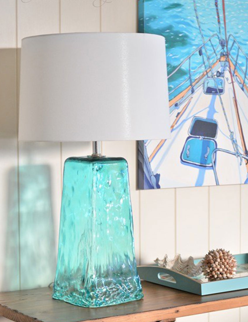Coastal Interior Decor | Blue Translucent Glass Lamp
