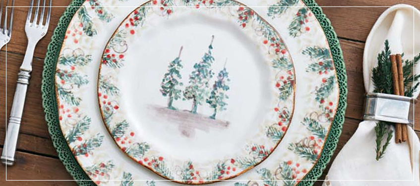 Arte Italica Natale Dinnerware | Hand-painted Holiday Place Settings