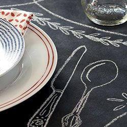 Chalkboard table runner from Kitchen Papers