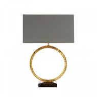Aidan Gray Home Lighting Geo Hammered Circle Lamp In Antique Gold - Pair