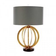 Aidan Gray Home Lighting Geo Hammered Globe Lamp In Antique Gold