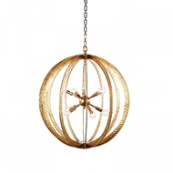 Aidan Gray Home Lighting Large Geo Hammered Circle Chandelier Antique Gold