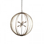 Aidan Gray Home Lighting Geo Hammered Circle Chandelier - Nickel - Large