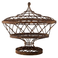 Aidan Gray Home Oval Basket With Lid 7835GR-Metal-Iron