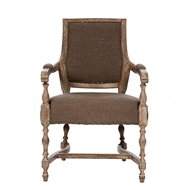 Aidan Gray Home Brent Dining Arm Chair - Burnt Oak & Coyote