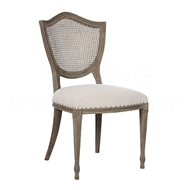 Aidan Gray Home Shield Cane Back Dining Chair - Nantucket Gray & Cloud - Pair