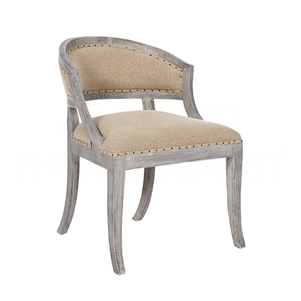 Aidan Gray Home Swedish Occasional Chair - Stonewood Gray & Linen - Oak CH566 SGTL