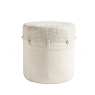 Aidan Gray Home Adam Stool, Greek Key Cream CH150 CG Creams