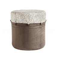 Aidan Gray Home Adam Stool, Leopard And Smoke CH150 LEO Gray and White