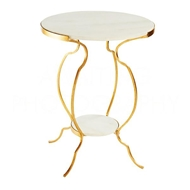 Aidan Gray Home Large Portrack House Garden Table in Gold No. 2 F272L GLD Metal/Gold and Marble