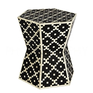 Aidan Gray Home Digital Hourglass Hexagon Side Table/Stool F373 Black and Bone
