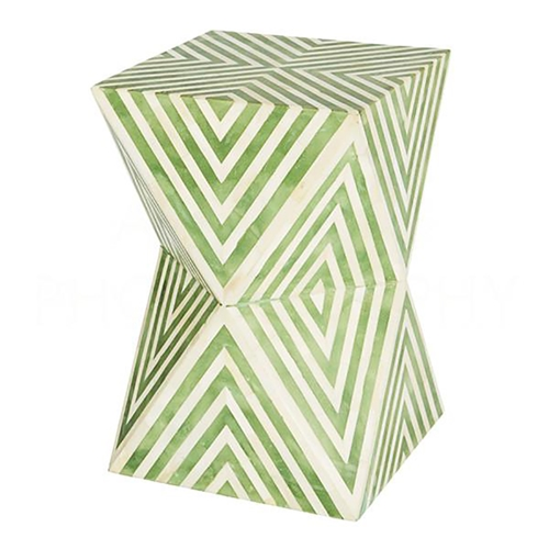 Aidan Gray Home Argyle Side Table/Stool, Pale Jade F376 Pale Jade and Bone