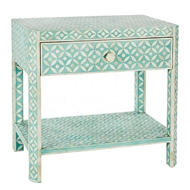 Aidan Gray Home Ecliptic Bedside Stand, Bay Blue F384 Bay Blue and Bone