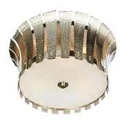 Aidan Gray Lighting Small Hammered Terrapin Ceiling Mount, Nickel FL102S NKL HOM Nickel