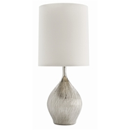 Arteriors Lighting Carey Table Lamp In Porcelain With Metallic Silver Finish