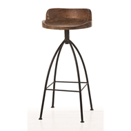Arteriors Home Furnishings Hinkley Bar Stool With Sandblast Antique Wax Finish In Brown