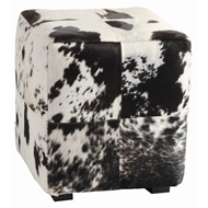 Arteriors Home Furnishings Hugo Ottoman With Black And White Hide Finish In Black