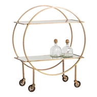 Arteriors Home Accessories Rupert Bar Cart With Antique Brass Finish In Yellow