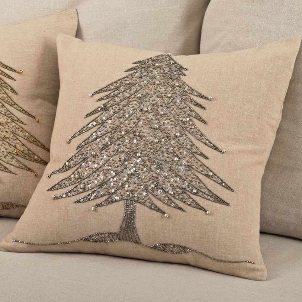 Beaded Christmas Tree Pillow | Discover Unique Seasonal Throw Pillows