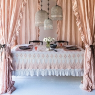 Bella Notte Linen Whisper Ruffle Curtain Panel in Perfect Peach