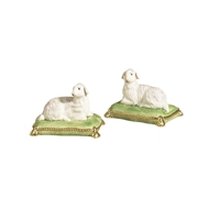Chelsea House Home 43-0036 Lambs/Green Pillows-Pair