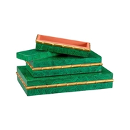 Chelsea House Home Malachite Bamboo Boxes (S3)