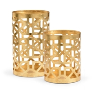 Chelsea House Lighting Pair Lattice Hurricane-Gold 383137