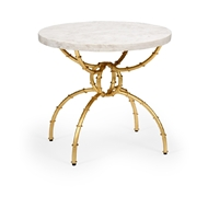 Chelsea House Home Bamboo Side Table - White 383885 Marble