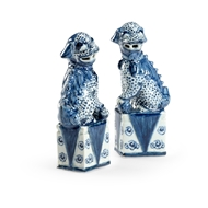Chelsea House Home Blue and White Palace Dogs - Pair 384550 Ceramic