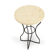 Chelsea House Home Boice Side Table - Bronze 383740 Travertine Marble