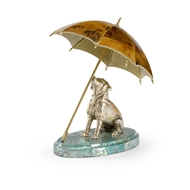 Chelsea House Home Dog and Umbrella 384438 Wood/Brass/Shell