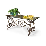 Chelsea House Home Firenze Glass Top Console 380071 Metal Base, Faux Bronze, Gold Accents