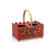 Chelsea House Home French Wine Caddy - Red 382503 Hand Decorated Iron