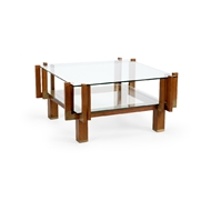Chelsea House Home Morgan Cocktail Table 384579 Wood/Brass/Glass