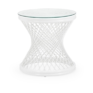 Chelsea House Home Rattan Side Table - White 384589 Rattan/Glass